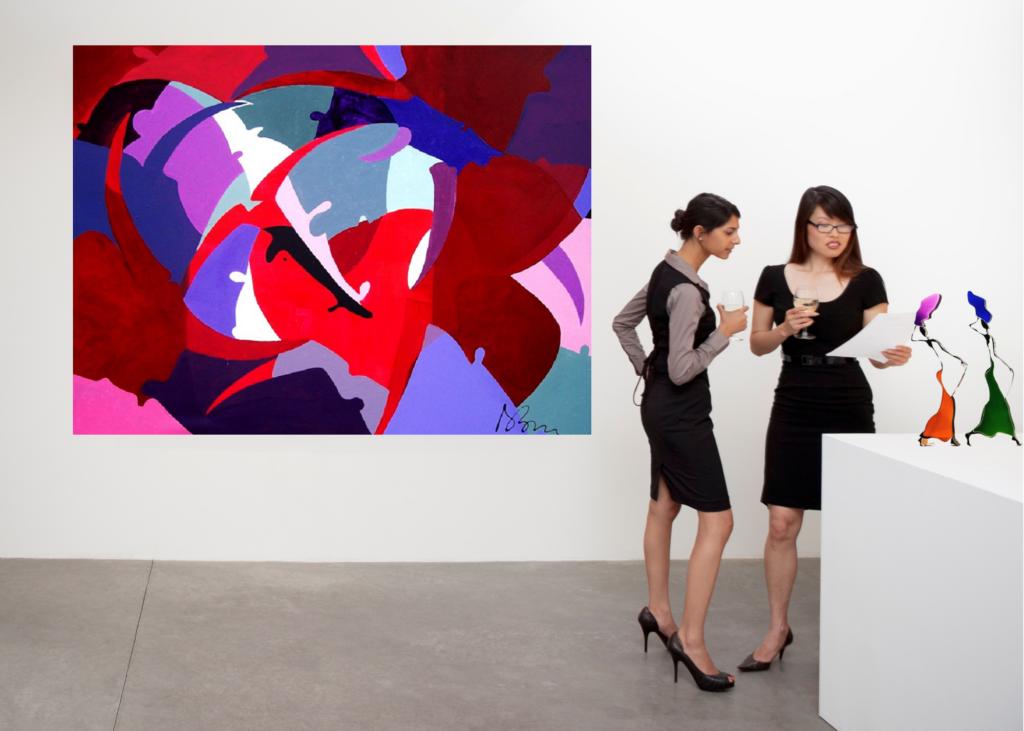 galleria-arte-michelangelo-del-brocco-opere-contemporanee-scultura-pittura-artista-quadro-horses-in-love-cavalli-amore-africa-illy-moderno-amazzone-plexiglass-tela-olio-tori-rossi-blu